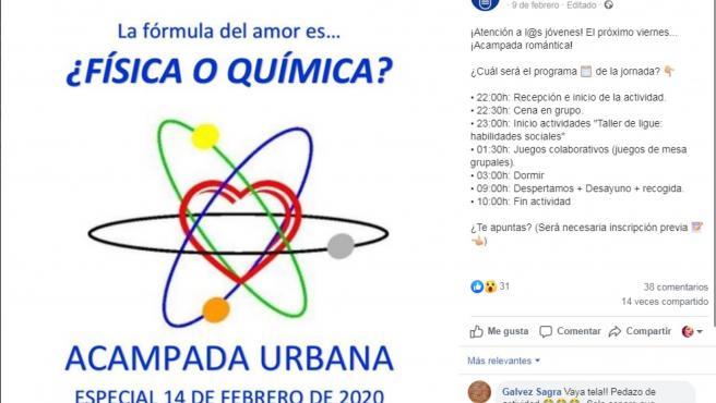 Anuncio en la página de Facebook del Ayuntamiento de Ciempozuelos