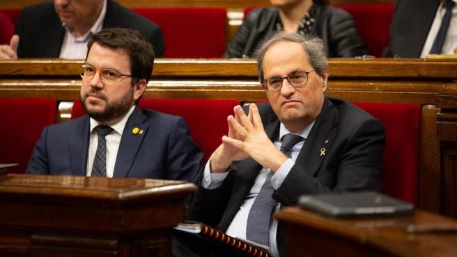 El vicepresidente, Pere Aragonès, y el presidente, Quim Torra