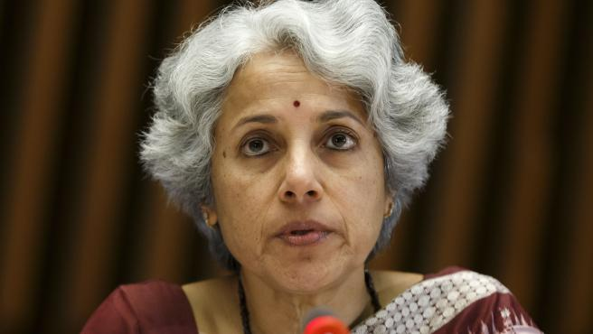 La científica jefe de la OMS, Soumya Swaminathan, en la rueda de prensa de este miércoles.