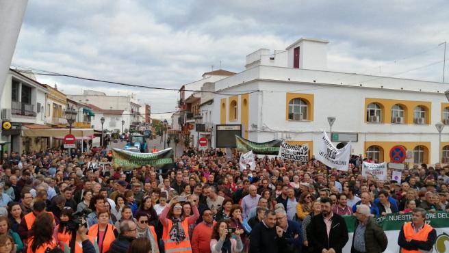 Concentración de agricultores en Adamuz (Córdoba).