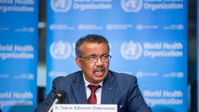 El director general de la Organización Mundial de la Salud (OMS), Tedros Adhanom Ghebreyesus, en rueda de prensa para informar sobre novedades en el brote de coronavirus originado en China. 6 de febrero de 2020.