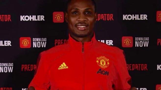 Ighalo, en su presentación con el Manchester United.