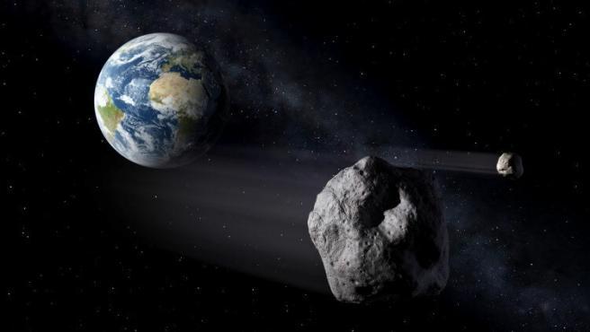 Impresión artística de dos objetos cercanos a la Tierra.