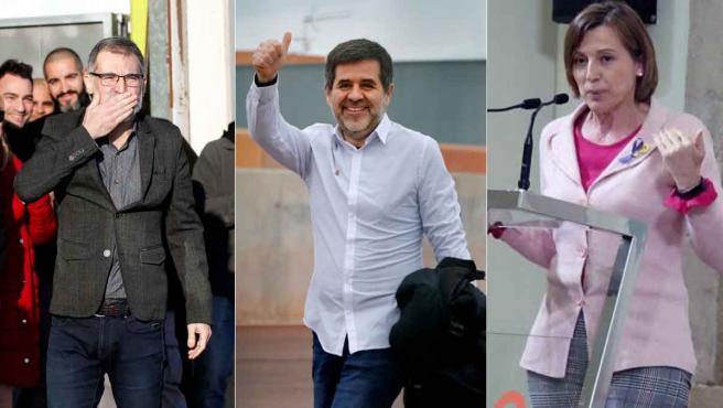 Jordi Cuixart, Jordi Sànchez y Carme Forcadell.