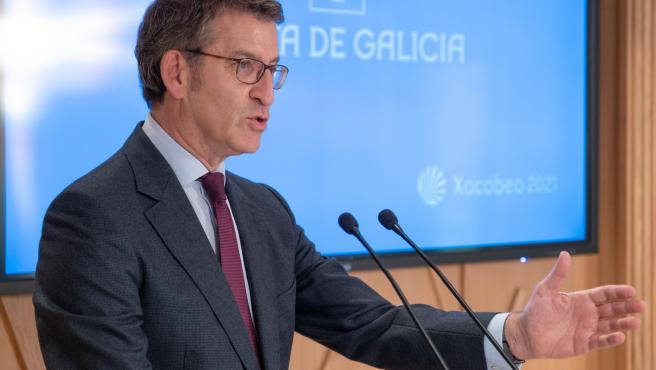 O titular do Goberno galego na rolda de prensa do Consello