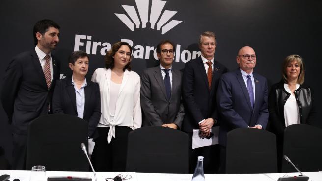 Rueda de prensa de Ada Colau, Pau Relatos, John Hoffman, Jordi Puingeró, Núria Marin, Mats Granryd, Teresa Cunillera y Núria Marin tras la cancelación del MWC.