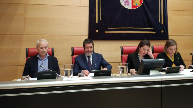 El gerente regional de Salud, Manuel Mitadiel, (segundo por la izquierda), durante su comparecencia en la Comisión de Sanidad en las Cortes.
