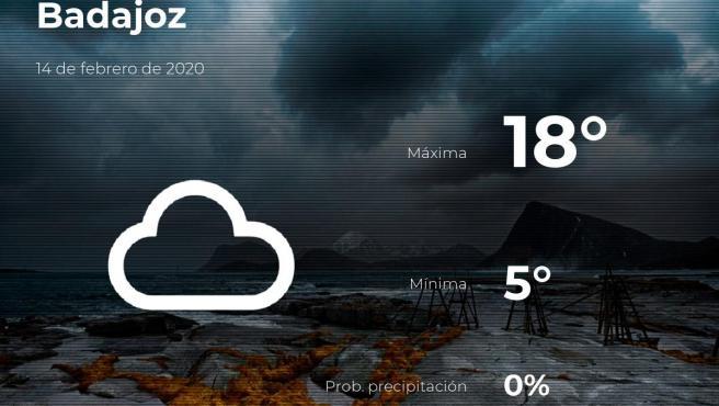 El tiempo en Badajoz: previsión para hoy viernes 14 de febrero de 2020