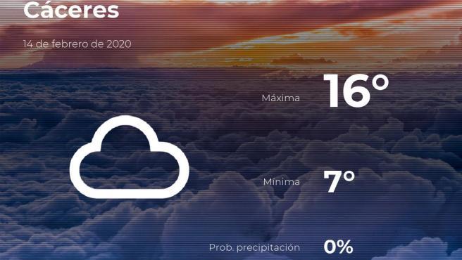 El tiempo en Cáceres: previsión para hoy viernes 14 de febrero de 2020