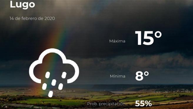 El tiempo en Lugo: previsión para hoy viernes 14 de febrero de 2020