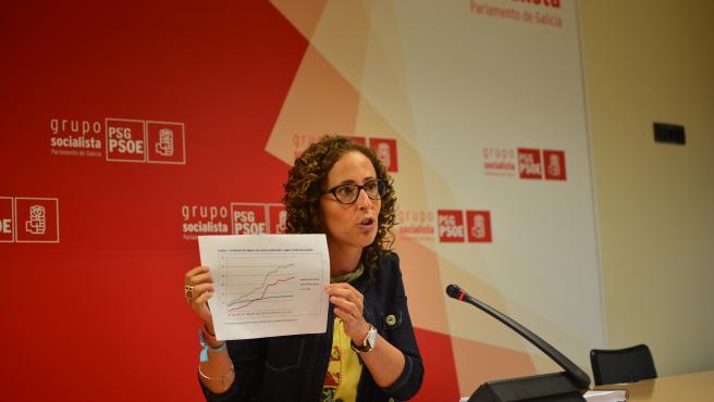 La diputada del PSdeG Noela Blanco en la rueda de prensa