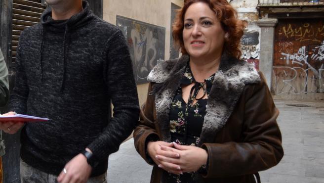 La diputada y coordinadora provincial de Izquierda Unida (IU) en Granada, Mari Carmen Pérez, acompañada por el parlamentario andaluz de 'Adelante Andalucía' Jesús Fernández