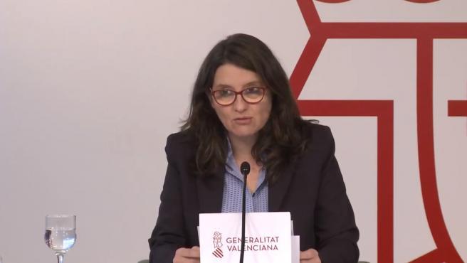 La vicepresidenta de la Generalitat Valenciana, Mónica Oltra, en roda de premsa després del ple del Consell.