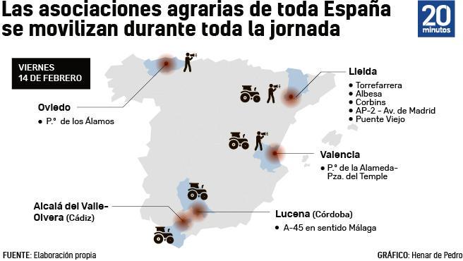 Mapa de las concentraciones agrarias convocadas para este viernes 14 de febrero.