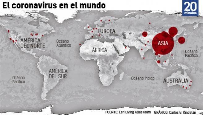 Mapa del coronavirus en todo el mundo.