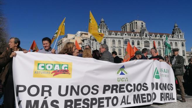 Movilización del sector ganadero en Asturias.