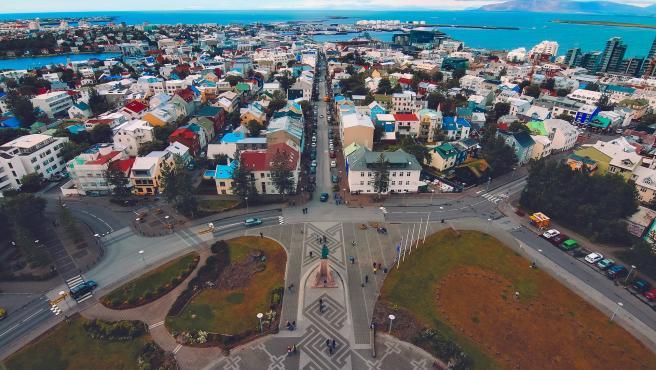Vista aérea de Reykjavik.
