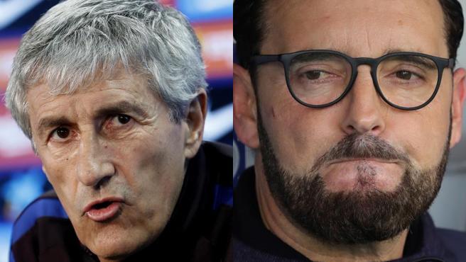 Quique Setién y José Bordalás, entrenadores de Barça y Getafe.