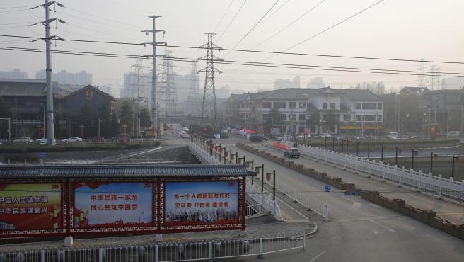 Visión de una calle vacía en Pekín.