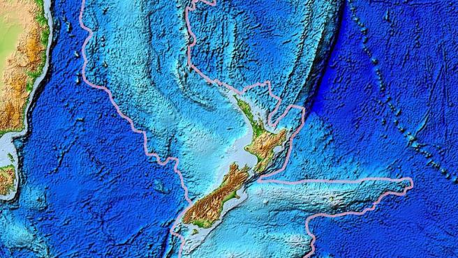 Imagen vía satélite y retocada de lo que fue Zealandia.