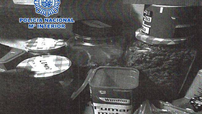 Droga encontrada por la Policía Nacional en una asociación de cannabis.
