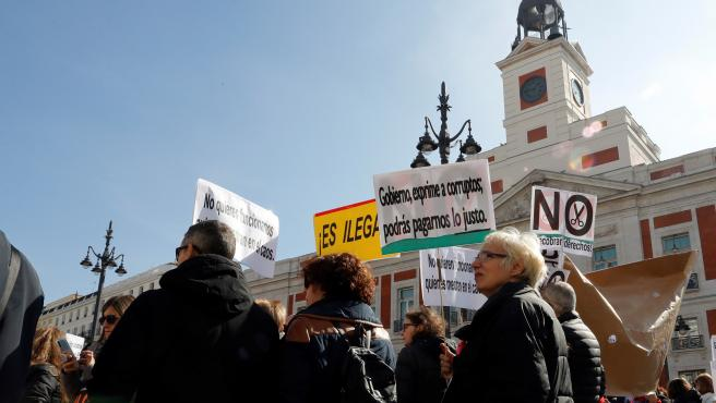Los interinos se manifestaron en Madrid en contra de la precariedad.