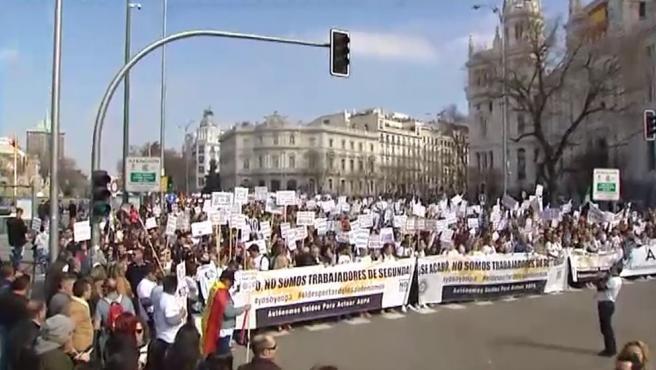 Protesta de autónomos por las calles de Madrid.