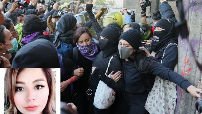 Protestas por la muerte de Ingrid Escamilla (en el recuadro).