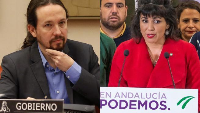 Pablo Iglesias y Teresa Rodríguez, el día en que Anticapitalistas anunció la ruptura con Podemos.