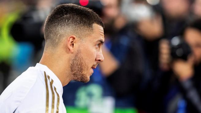Hazard, en un partido con el Real Madrid.