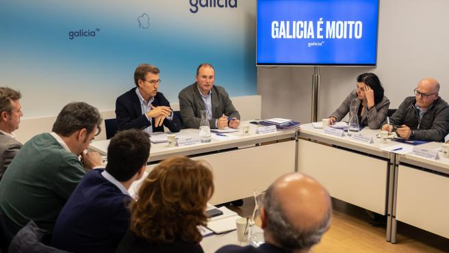 El presidente del PP de Galicia, Alberto Núñez Feijóo, preside el Comité de Dirección del partido.