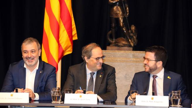 Torra, en la reunión del MWC con Collboni y Aragonés.