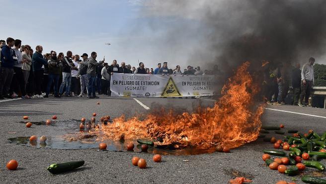 Hortalizas ardiendo en medio de la autovía del Mediterráneo, en Almería.