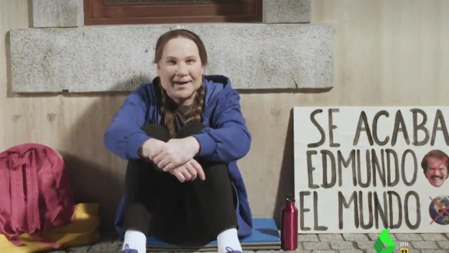 Imitación de Greta Thunberg por Joaquín Reyes durante la emisión de 'El intermedio'