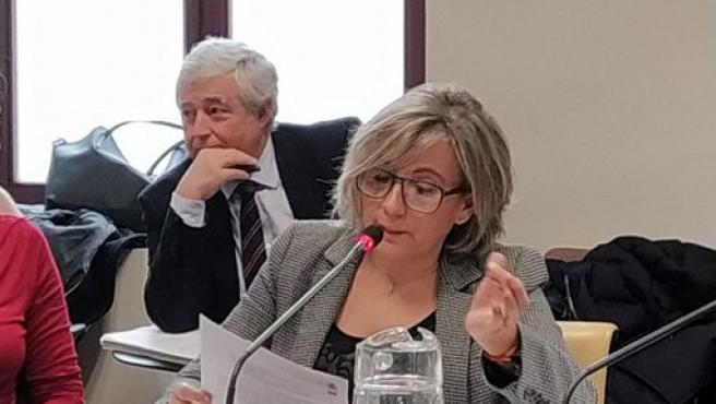 La concejala de Vox Aránzazu Cabello en la comisión de este martes.