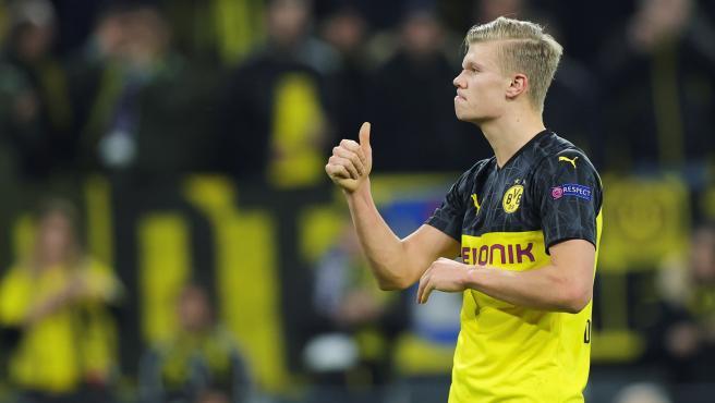 Erling Braut Haaland, durante un partido del Borussia Dortmund.
