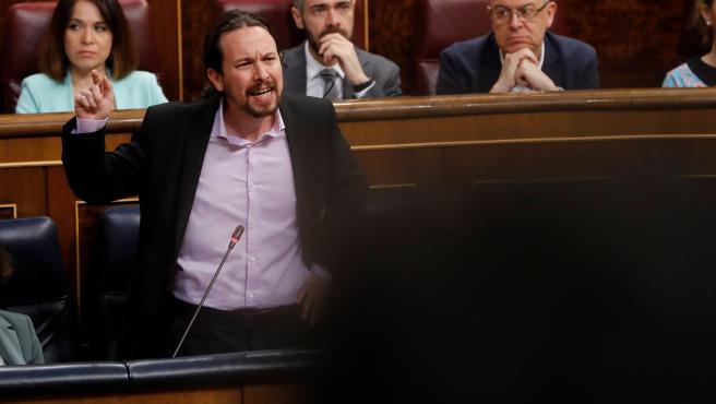 El vicepresidente segundo del Gobierno, Pablo Iglesias, durante la sesión de control.