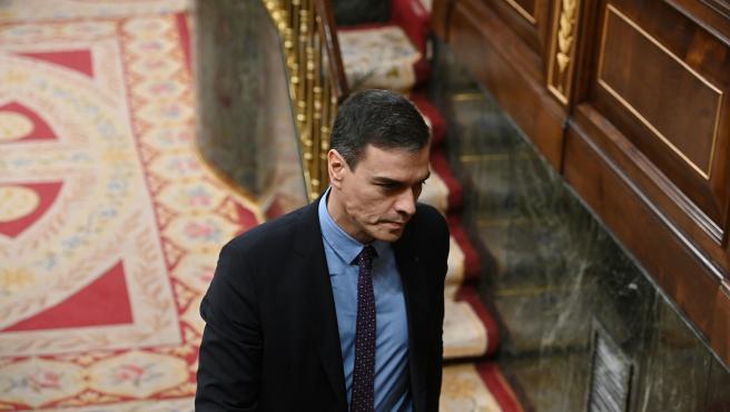 El presidente del Gobierno, Pedro Sánchez, durante la segunda sesión de control al Ejecutivo.