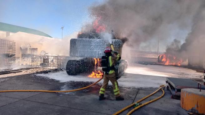 Incendio en el aeropuerto de Teruel