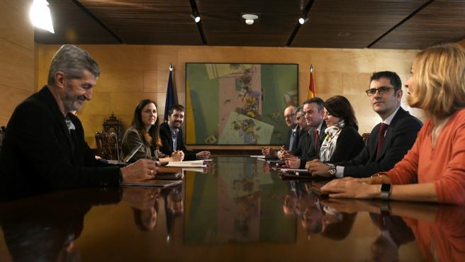 Reunión de la Comisión Permanente de Coordinación entre PSOE y Unidas Podemos en