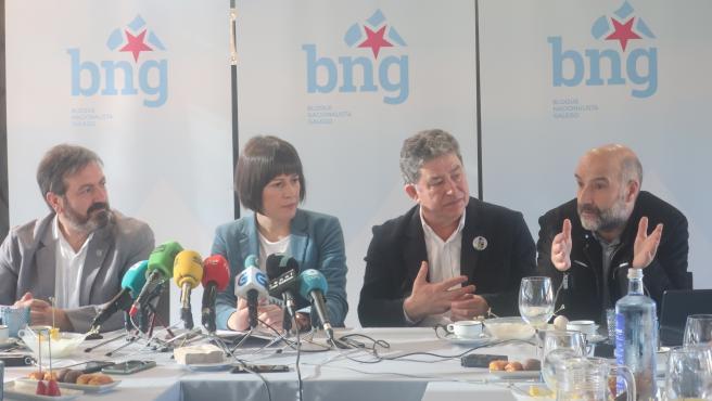 La portavoz nacional del BNG, Ana Pontón, en un desayuno informativo en Pontevedra.