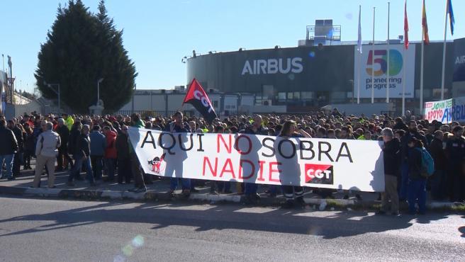 Los trabajadores de Airbus secundan las concentraciones en toda España