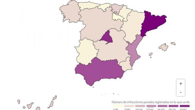 Mapa del robo de vehículos, por comunidades.