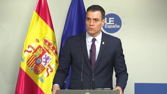El presidente del Gobierno, Pedro Sánchez, durante la comparecencia de este viernes.