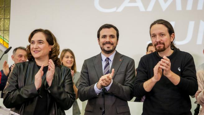 Ada Colau, Alberto Garzón y Pablo Iglesias en el encuentro confederal de Unidas Podemos celebrado en la Fundación Diario Madrid.