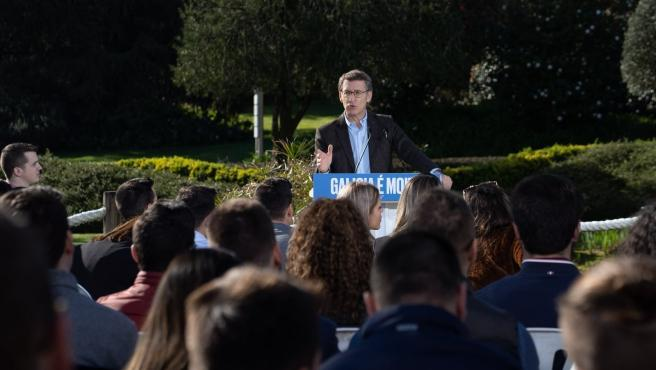 El líder del PPdeG y candidato a la reelección al frente de la Xunta, Alberto Núñez Feijóo, en el acto en Pontevedra