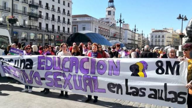 Manifestación previa al 8-M en Madrid.
