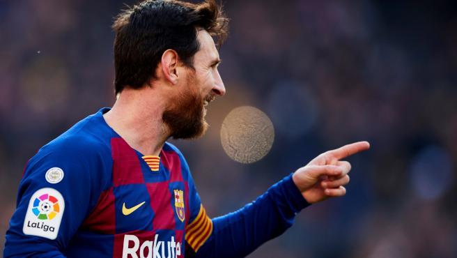 Messi celebra uno de sus cuatro tantos al Levante.