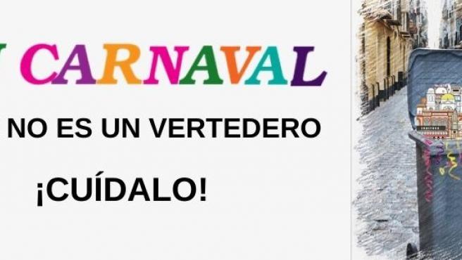 Cartel para la concienciación de la limpieza de Cádiz durante el Carnaval