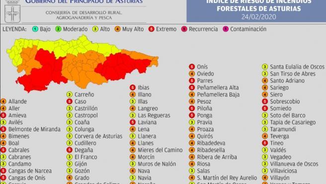 Indice de riesgo de incendios forestales en Asturias